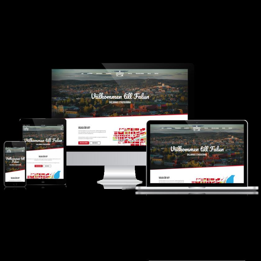 En webbplats visad på olika typer av skärmar.