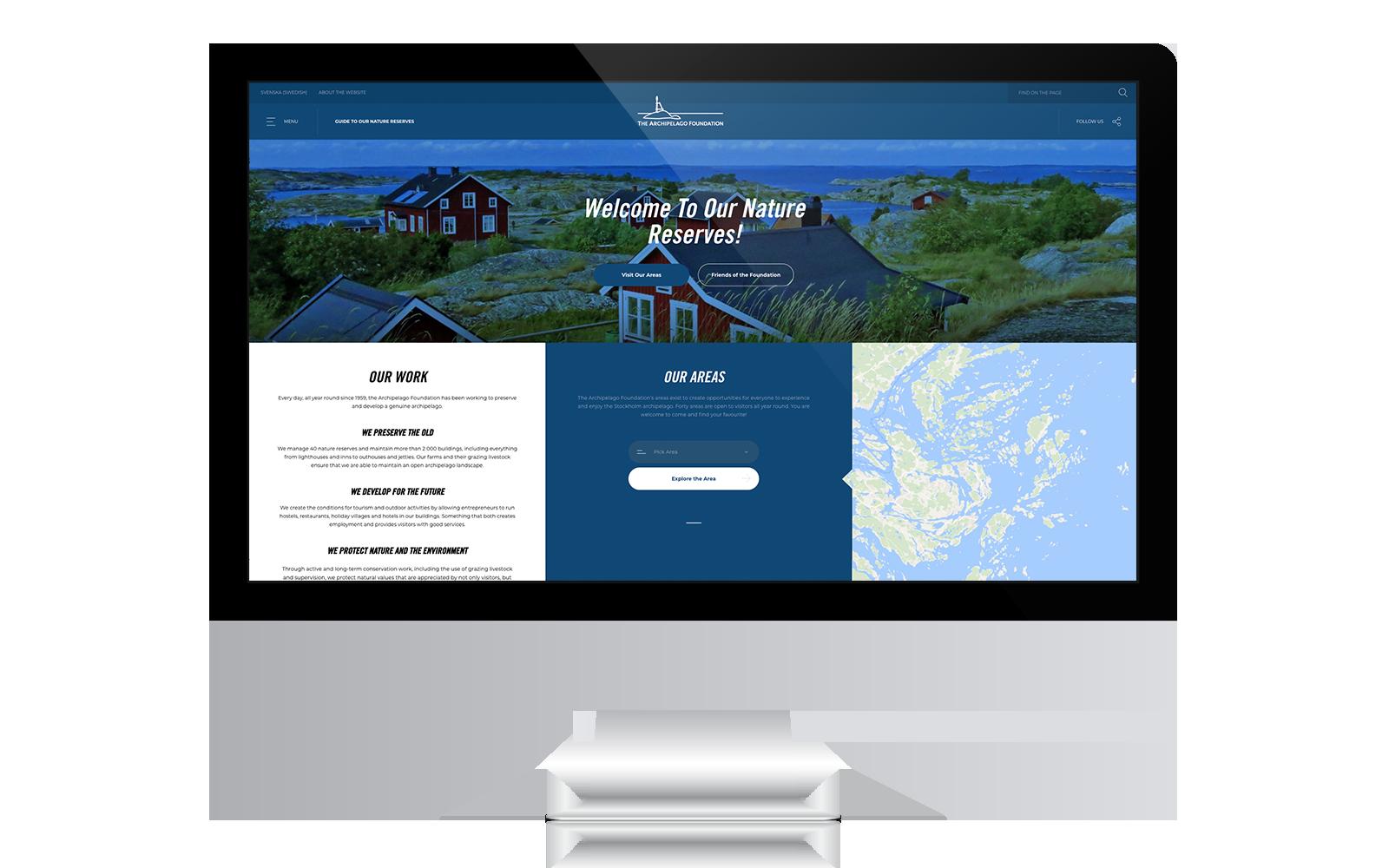 Engelsk webbplats till Skärgårdsstiftelsen gjord av Panang Kommunikation i Falun, Dalarna