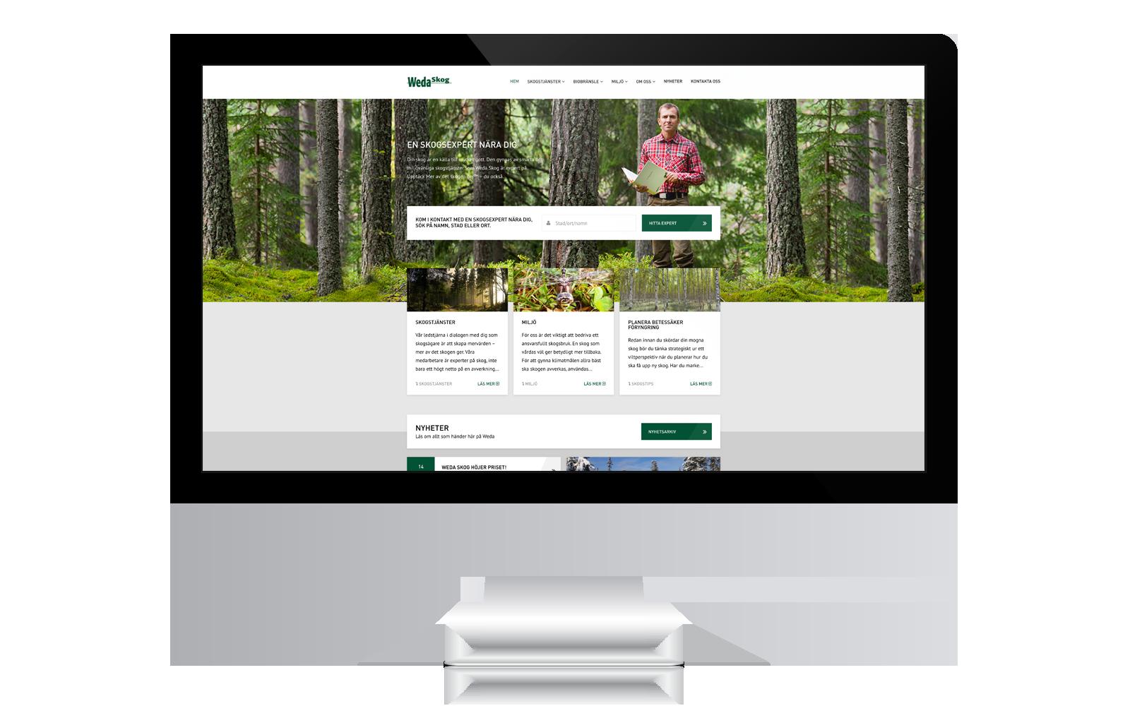 Ny webb till Weda Skog gjord av Panang Kommunikation i Falun, Dalarna