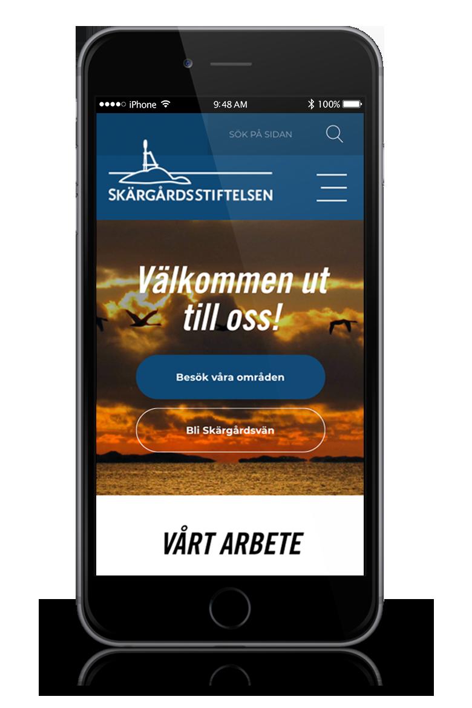 Responsiv webbsida för Skärgårdsstiftelsen, av Panang Kommunikation AB i Falun, Dalarna