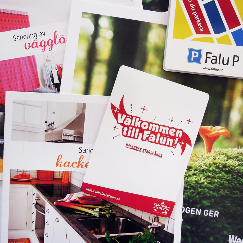Exempel på broschyrer och andra trycksaker av Panang Kommunikation.