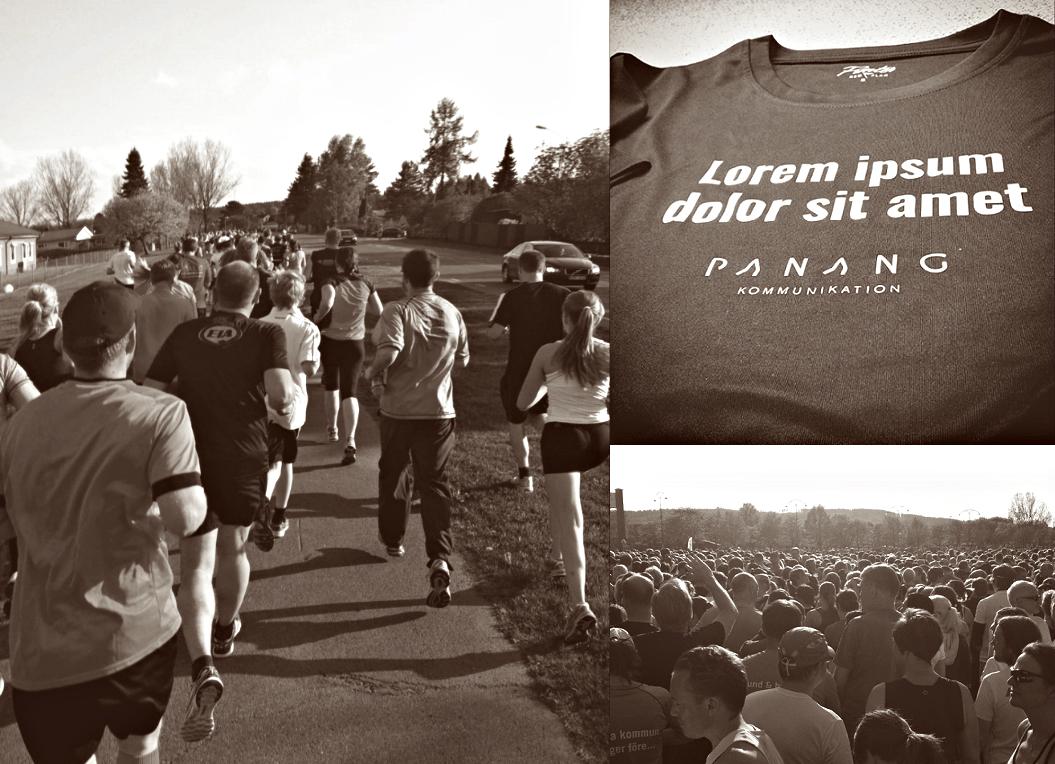 Löpare på Blodomloppet samt en tröja med texten Lorem ipsum dolor sit amet Panang Kommunikation