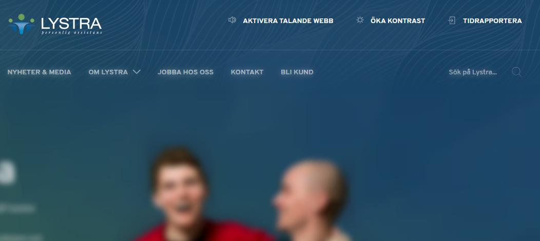 Tillgänglighetsfunktioner på Lystras webbplats