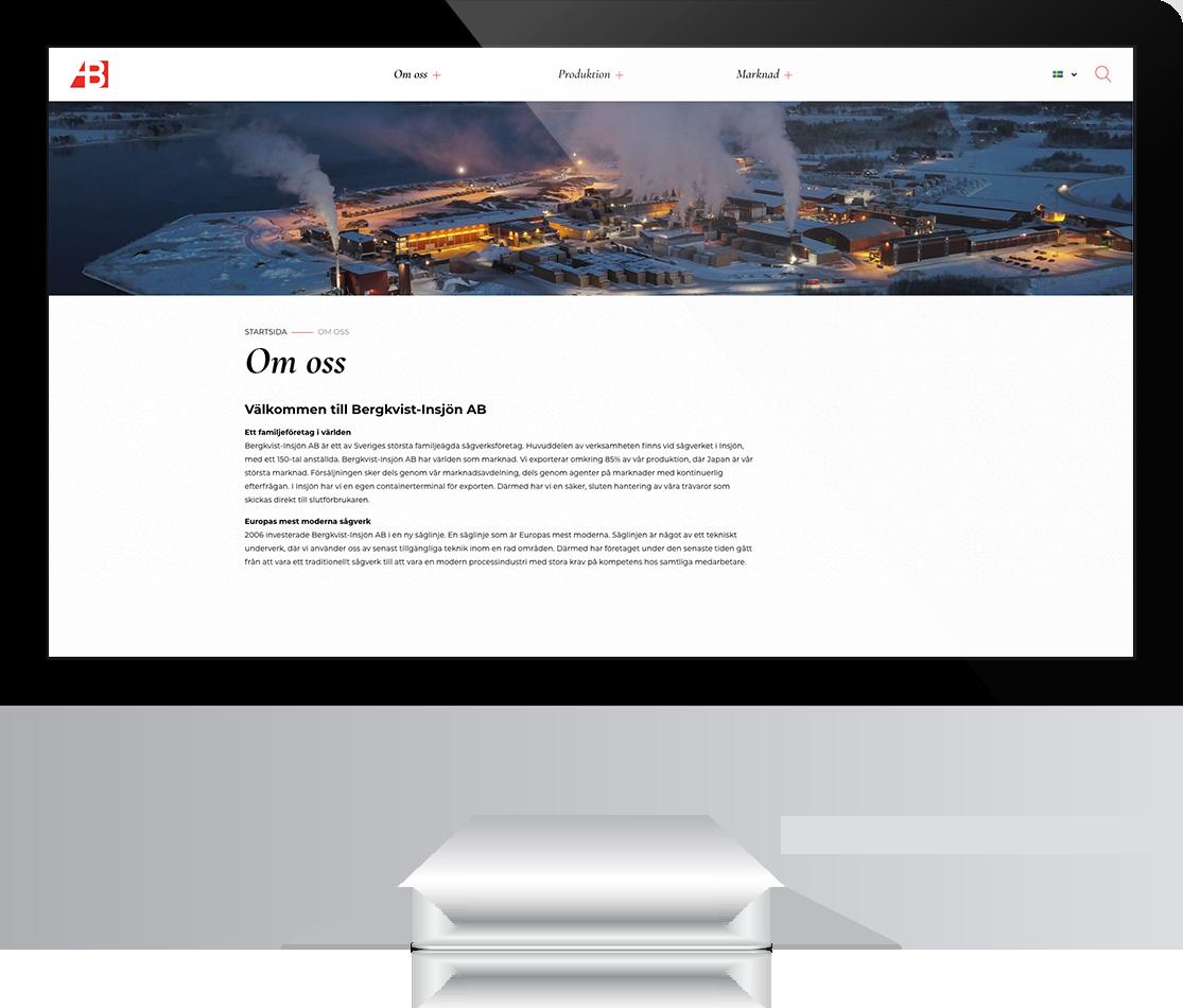 Design av undersida på bergkvist-insjon.se