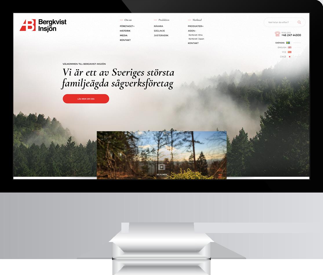 Ny webb till Bergkvist-Insjön AB gjord av Panang Kommunikation i Falun, Dalarna