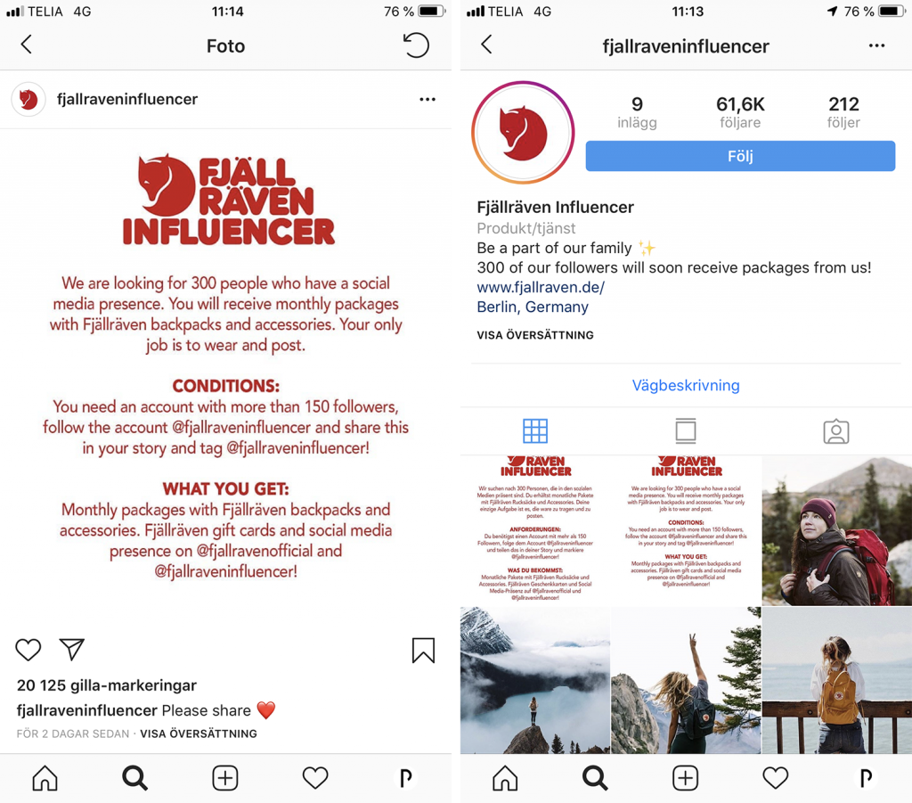 Skärmdumpar över scam-konto på Instagram.