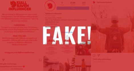 """Röd varningsbild med texten """"fake"""""""