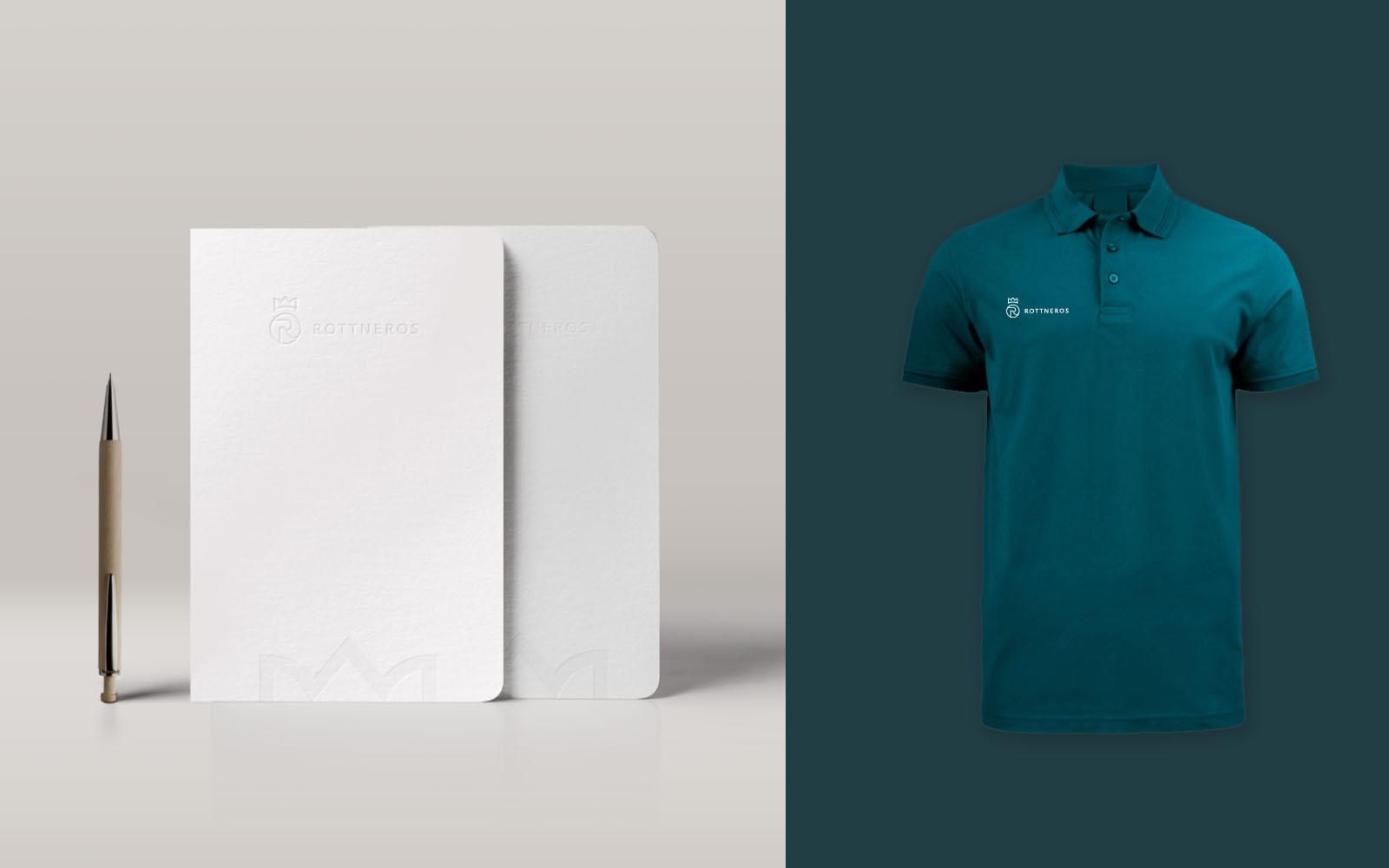 Tillämpningar på anteckningsblock och tröjor med Rottneros nya logotype