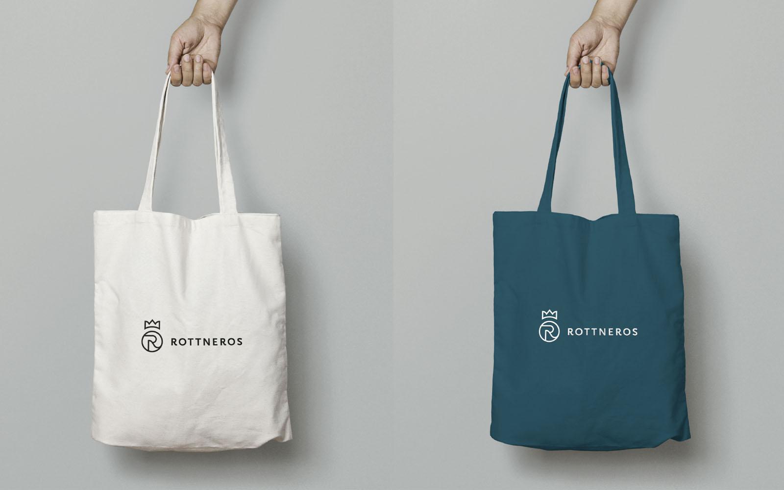 Tillämpningar på tygpåsar med Rottneros nya logotype